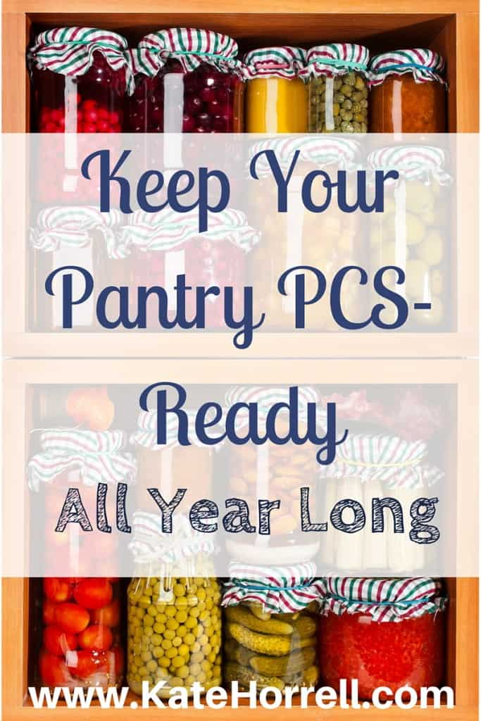 Keeping your pantry organized and using your food in an organized manner will make your life a lot easier when it is time to move. PCS |www.KateHorrell.com