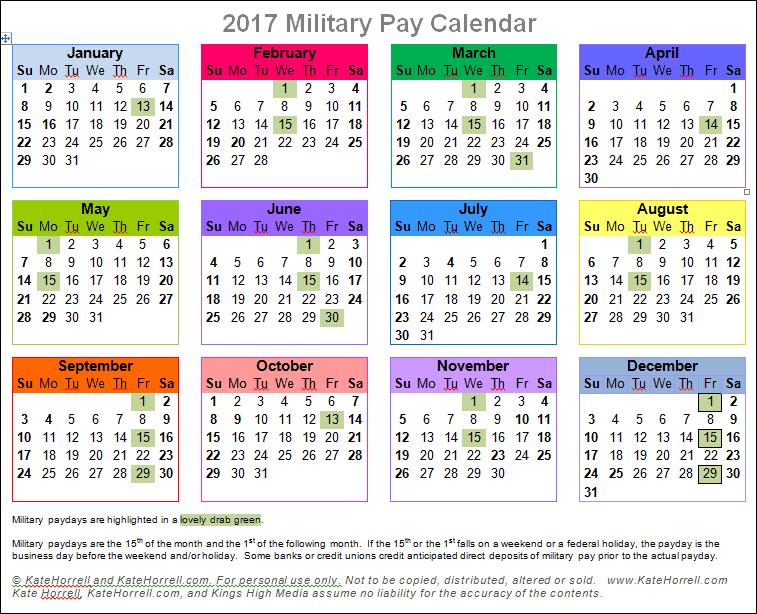 Printable 2017 Military Pay Calendar