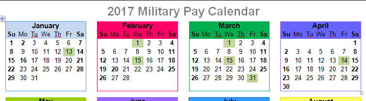 2017 Active Duty Military Paydays – With Printables