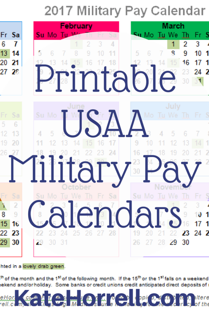 2017 USAA Military Pay Deposit Dates - With Printables ...