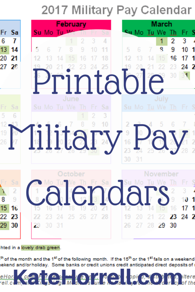 Printable 2017 military pay calendars - so you will always know when payday is coming next !