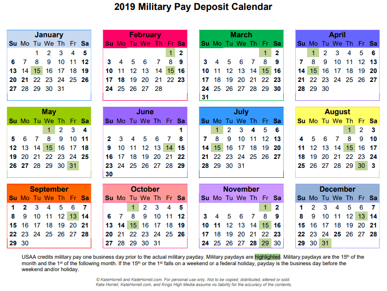 Military Pay Calendar 2019 2019 Active Duty Military Paydays   With Printables   KateHorrell