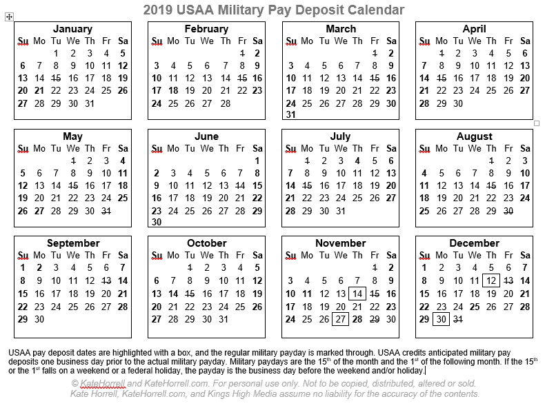 2018 and 2019 USAA Military Pay Deposit Dates - With ...