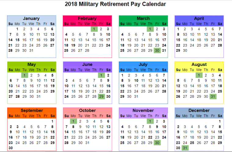 2018 Military Retirement Paydays