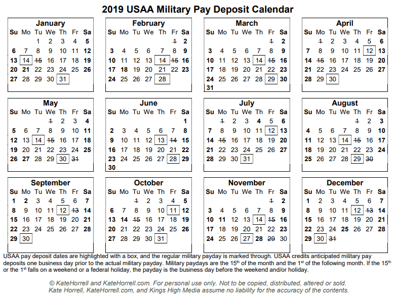 Printable 2019 USAA Military Pay Deposit Dates