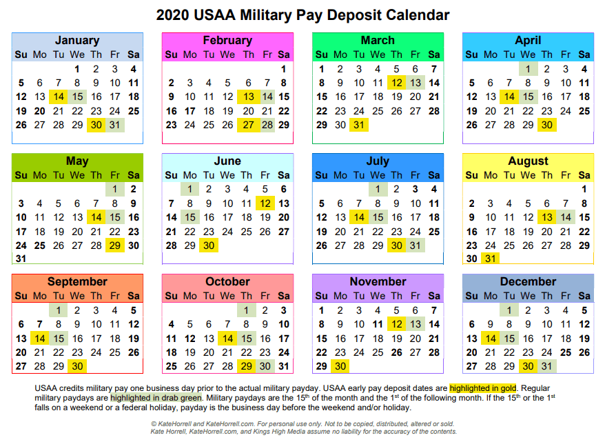 Usaa Christmas Holiday Hours 2020 2020 USAA Military Pay Deposit Dates   With Printables • KateHorrell