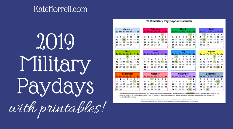 2019 active duty military paydays