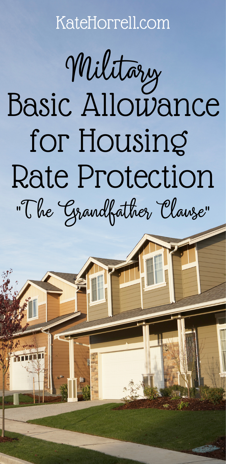 military housing allowance rate protection