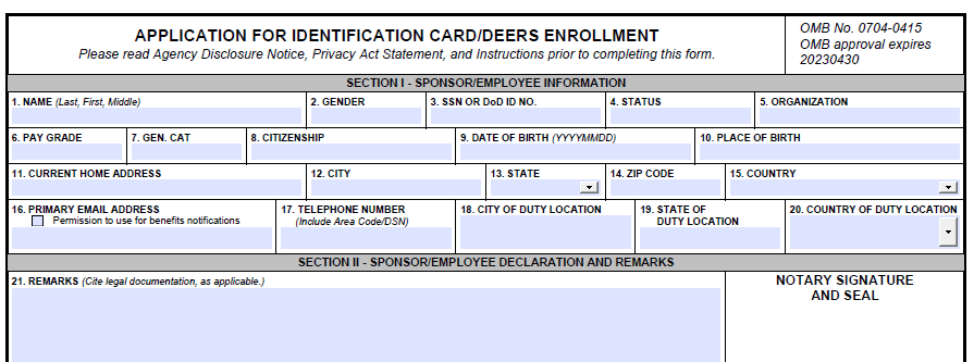 the form you need to get a military ID card